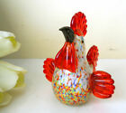 PRETTY MURANO ART GLASS HAND BLOWN MULTICOLOR ROOSTER HEN CHICKEN FIGURINE GIFT