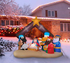 Fraser Hill Farm 65 Ft Wide Nativity Scene Blow Up Inflatable with Lights and