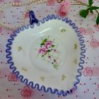 FENTON MILK GLASS CANDY HEART DISH White  Hyacinth Ribbon Trim C8508 2009