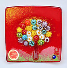Murano Glass Tree of Life Dish Small Red with Millefiori Made in Italy