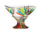 Venetian Glass Starburst Compote Bowl  Made  Hand Painted In Italy