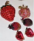 SIGNED ART  AUSTRIA STRAWBERRY BROOCHES  EARRINGS VTGAB RHINESTONE ENAMEL LOT