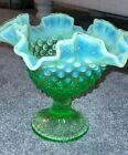 Vintage Fenton Green Opalescent Glass Hobnail Compote Glows Under Black Light