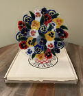 1998 Signed PEGGY KARR Hand Crafted FUSED GLASS PANSIES ROUND PLATTER
