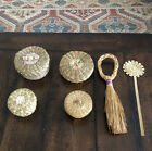 Set of 4 Native American Baskets Passamaquoddy Sweetgrass Lidded Broom Bookmark