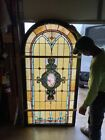 AN arch Antique stained glass landing window 39 x 76