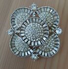 Vintage Wiesner Art Deco Clear Crystal Pave Baguettes Rhodium Plate Brooch Rare
