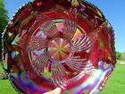 Fenton 1970s Ruby Red Carnival Glass Butterfly  Berry Fantail Bowl 9W x35H