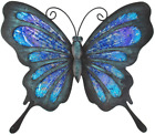 HONGLAND Metal Butterfly Wall Decor Outdoor Indoor Art Sculpture Hanging Glass D