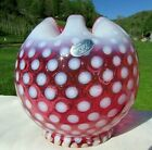 Fenton Cranberry Opalescent Polka Dot 5W Rose Bowl 1955 56 Mint Condition