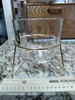 Large 1960s mid century modern GLASS BOWL with metal stand Mermaid