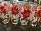 Vintage Christmas Poinsettias Red Floral tall Drinking Tumblers Glasses Set of 8