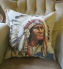 STUNNING NATIVE AMERICAN RED INDIAN SITTING BULL CHIEF TAPESTRY CUSHION COVER