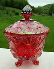 Fenton Ruby Red Carnival Glass Baroque Footed Covered Candy Dish 7H x 5W