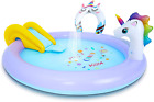 JIMI Kiddie Pool Kids Inflatable Unicorn Pools Blow up Play Center with Slide an