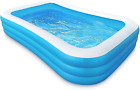 Inflatable 10 Foot Family Pool Blow Up Full Sized Rectangular Swimming Pool for