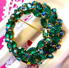 Excellent HUGE Wreath PIN Emerald Green Two Tiered Rhinestone Navette AB Vintage