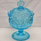 Vintage LG Wright Glass Ice Blue Daisy  Button Compote Candy Dish With Lid