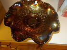 2005 FENTON AMETHYST CARNIVAL GLASS HEARTS  FLOWERS LARGE FOOTED BOWL 10 WIDE