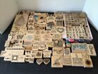 LG LOT 157 PC WOODEN BLOCK RUBBER STAMPS DOTS  OTHERS PADS CRAFT SCRAPBOOKING