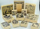 MAGENTA RUBBER STAMPS LOT OF 12 ANIMALSCHILDRENCHRISTMAS WOOD MOUNT