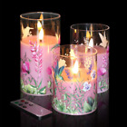 Eywamage Pink Floral Glass Flameless Candles with Remote 3 Pack Flickering LED