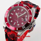 40mm BLIGER red dial Japan NH35 Automatic mens Watch sapphire glass rubber starp