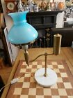 Vintage Italian Brass Oil Student Lamp Converted Electric Onyx Base  Glass Sha