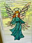 Large Green Guardian Angel Stained Glass Sun Catcher Panel Handmade Almost 22