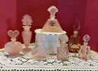 EXC CONDITION SET OF 7 VINTAGE PINK GLASS PERFUME BOTTLES CLEAR  FROSTED