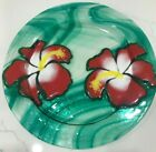 Jan Mitchell Fused Art Glass Plate Green Swirls with 2 Hibiscus Signed