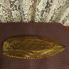 Vintage amber colored glass boat shaped serving dish