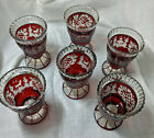 Vintage Egermann Bohemian Ruby Red Cut to Clear Crystal Goblets 45 set of six