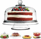 Stock Your Home Glass Cake Stand with Dome Lid 6 in 1 Serving Tray