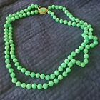 Vintage Peking Glass Bead Necklace CARVED Clasp Hand Knotted Jade Green 2