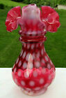 Fenton Glass Cranberry Opalescent Coin Dot Dot Optic Eye Double Ring Vase 65H