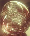 Gorgeous Rollin Karg Signed Ribbon Multi Bubble Tri sided Glass Paperweight
