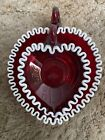 Rare FENTON PAIR 2 RARE RUBY CRANBERRY RUBY SNOW CREST HEART RELISH DISHES