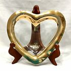 VINTAGE ANNIE GLASS HEART SHAPED GOLD TRIM CANDY DISH BOWL SIGNED