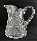 ANTIQUE AMERICAN BRILLIANT CUT GLASS CRYSTAL ABP WATER PITCHER