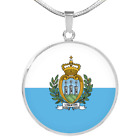 San Marino Flag Necklace Circle Pendant Stainless Steel or 18k Gold 18 22