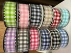 Lot of 12 Rolls 15X10yd Gingham Check Assortment of Wired Crafting Ribbon