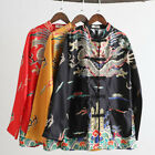 Men Chinese Faux Silk Satin Tang Suit Jacket Coat Chinese Dragon Clothes Ethnic