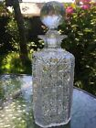 Antique glass button  cane hobnail square whisky decanter faceted stopper