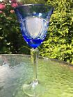 Bohemian style Cut Crystal Overlay Vintage Hock Wine Glass blue to clear