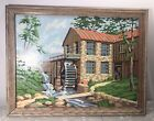 Vintage 1960s Paint By Number Framed Grist Mill Waterwheel MCM 17x13