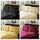4PCS Satin Silky Soft Bed Sheet Set Queen King Size Fitted Pillow Cases 3 Colors