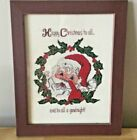 Finished Framed Counted Cross Stitch Santa  Holly Wreath Beautiful Needlepoint