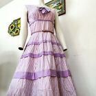 VINTAGE 1950s TIERED STRIPED COTTON DRESS S