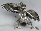 Chinese Old Tibet Tibetan Silver Hand Carved Redpoll Winged Garuda Statue